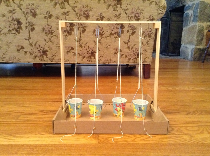 Pulley System Made With Wood Sting Cups Paperclips
