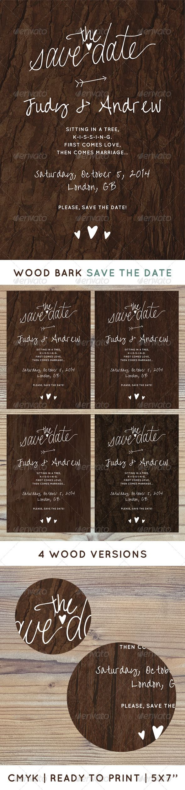 Printable, fully customisable wedding save the date design.  Romantic wedding Save The Date written on a tree.   - Ready to print  - CMYK, 5×7'' with 0.25 bleed  - 4 background versions  - 1 PSD file  - high quality