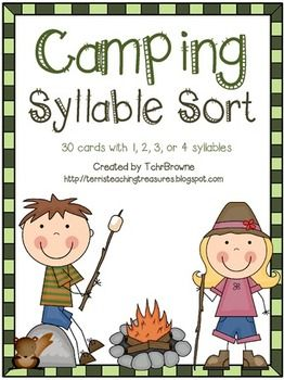 Camping Words Syllable Sort  On sale for $1 for only a couple more hours!!!!