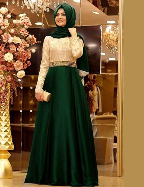 Find More Evening Dresses Information about New Malaysia dubai kaftan Elegant Long Sleeve Green Muslim Beaded Waist Lace Evening Dresses 2015 formal vestido de festa SME2,High Quality dresses blue,China bead monkey Suppliers, Cheap beaded white dress from LaceBridal on Aliexpress.com