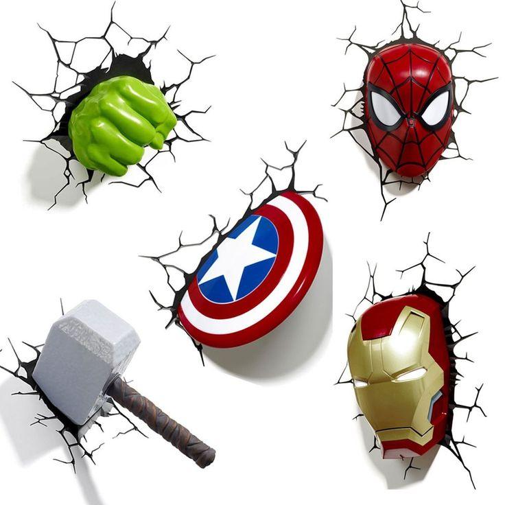 Marvel Wall Lights Iron Man : Marvel avengers 3d wall light - hulk, iron man, captain america, thor, spiderman 3d wall ...