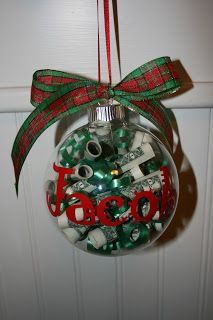 Personalized Christmas money ornaments.. a cute way to give money as a gift.