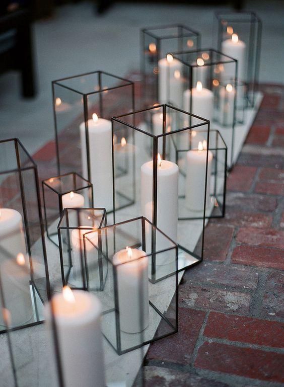 candles on subtle modern holders / http://www.deerpearlflowers.com/terrarium-geometric-details-ideas/4/
