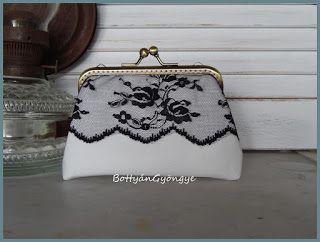 Romantikus fekete - fehér tárca / Romantic black and white wallet