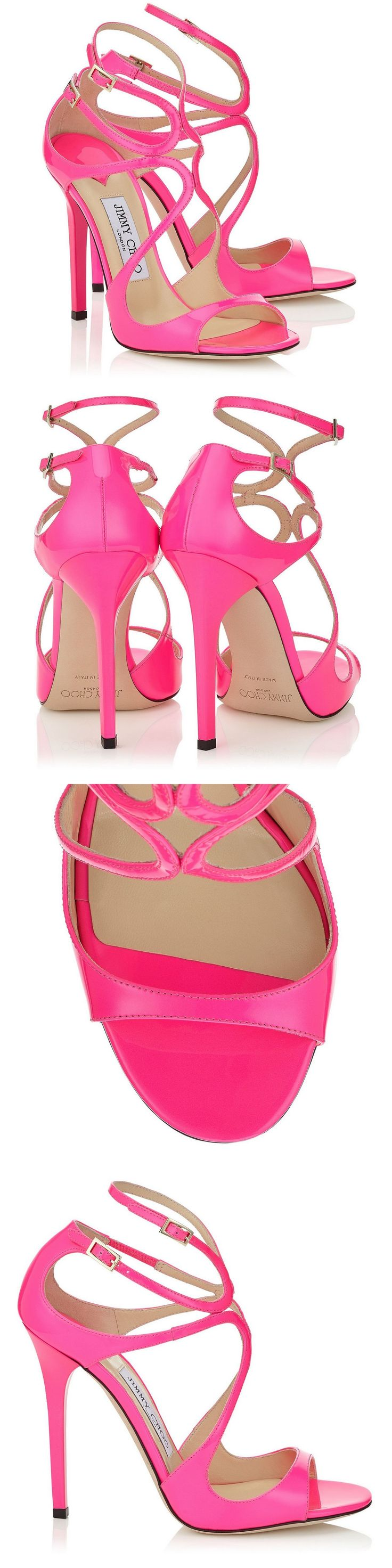 Jimmy Choo Raspberry Neon Patent Strappy Sandals   Lance   Pre Fall 15   #JimmyChoo #Shoes