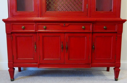 fabulous red vibrant red bright red painted hutch