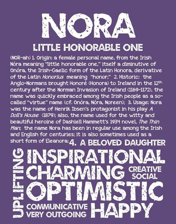 NORA Personalized Name Print / Typography Print / by OhBabyNames