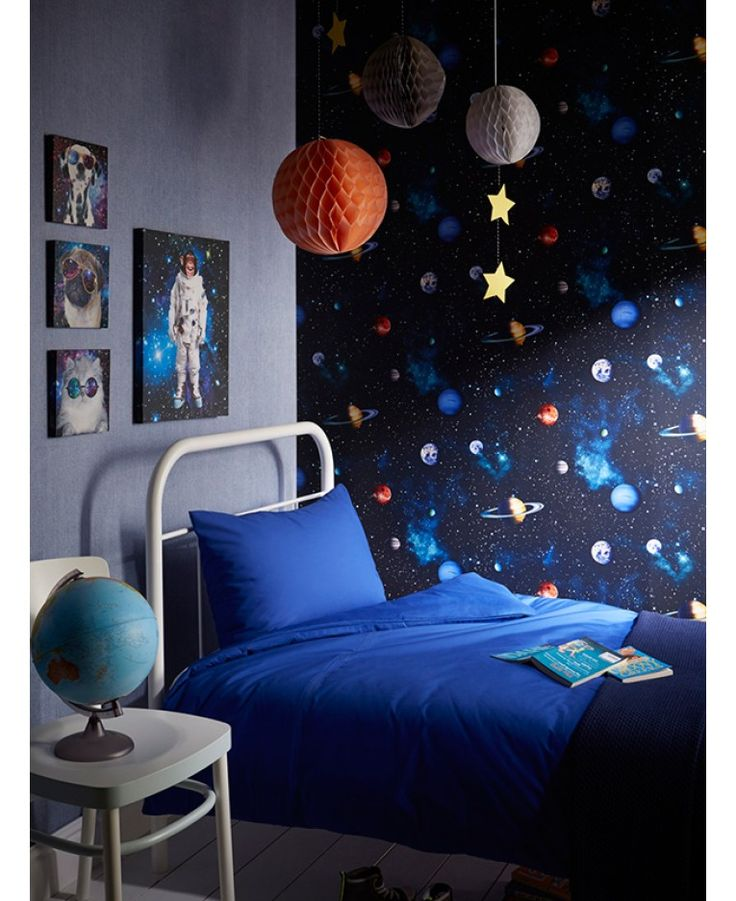 Outer space themed bedroom bedroom cool solar system for Space wallpaper bedroom