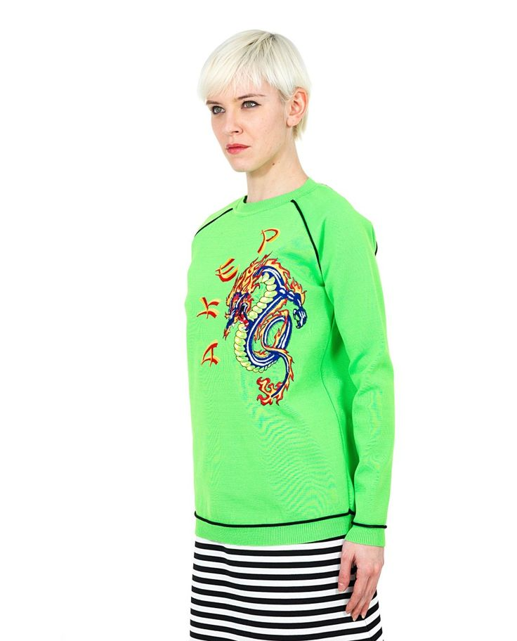AKEP ''DRAGON'' SWEATER Green nylon sweater crew-neck long sleeves embroidered dragon in the front 100% NY