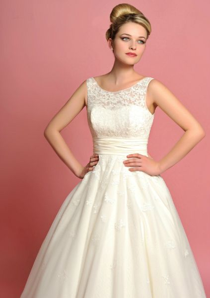Lou Lou Elizabeth; Vintage tea length style bridal gown, in lace and taffeta. Available at The Tailor's Cat, Cambridge 01223 366700