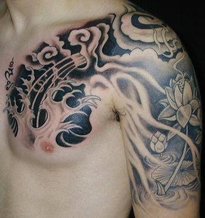 Cloud-Tattoo-Design-Ideas-with-Flower-on-Arm.jpg (400×426)