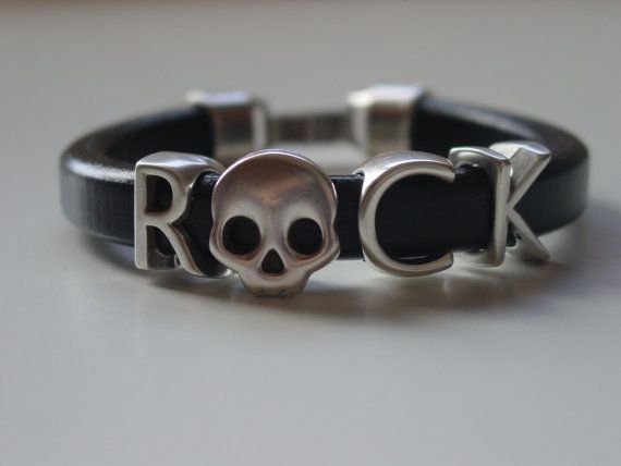 ROCK Letters Skull Metal Black Leather Handmade Mens by LindosArt