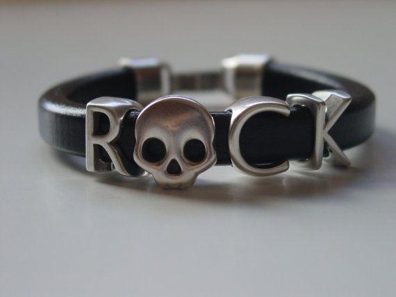 ROCK Letters Skull Metal Black Leather Handmade Mens by LindosArt