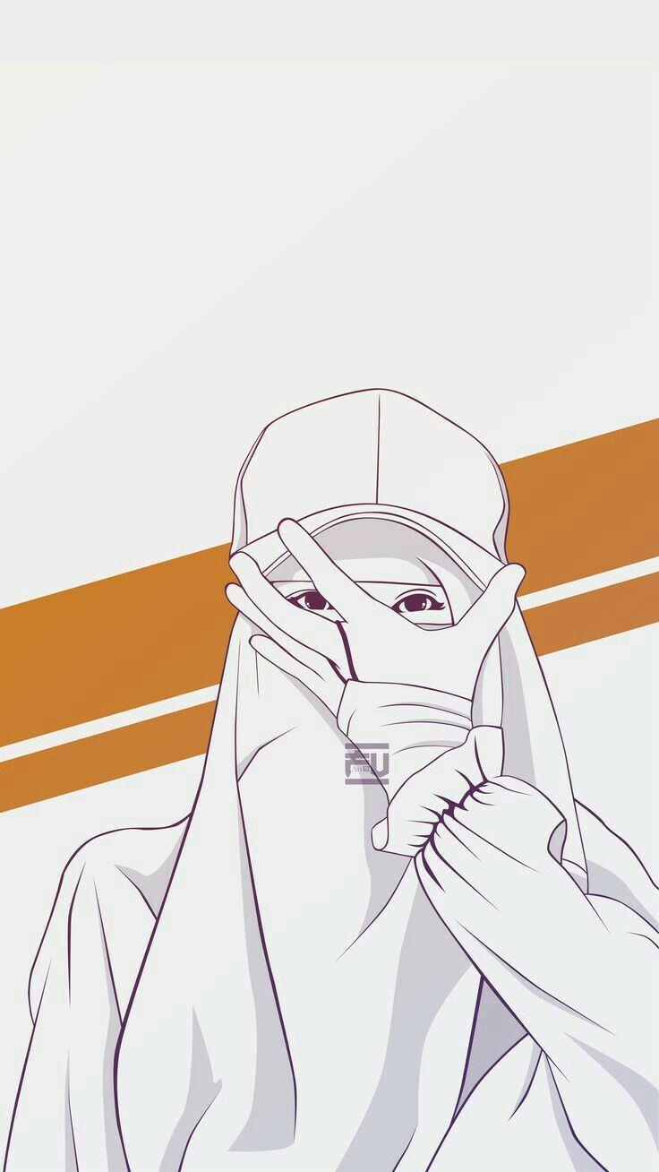 Niqabi Muslimah Ilustrasi Karakter Ilustrasi Sketsa