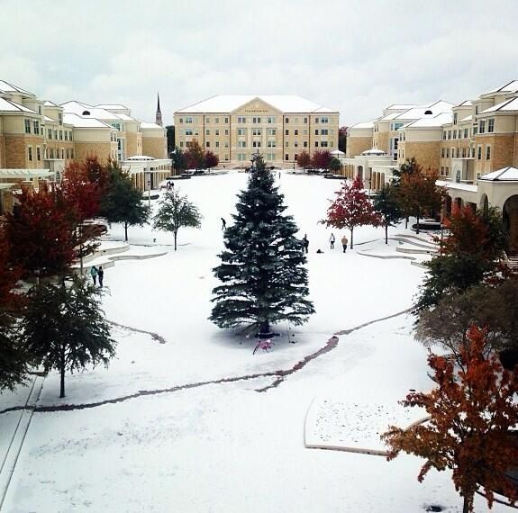 Texas Christian University! The best school there is, all covered in snow.