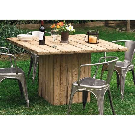 This table is made from the white cedar wood of old pickle tanks. Protect it with teak oil for outdoor use, it would indeed make an excellent table for family picnics and celebrations.
