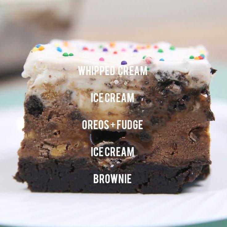 Brownie Bottom Ice Cream Cake ist ein einfaches gefrorenes Dessert, das unglaublich schmeckt! Spaß…   – DESSERTS