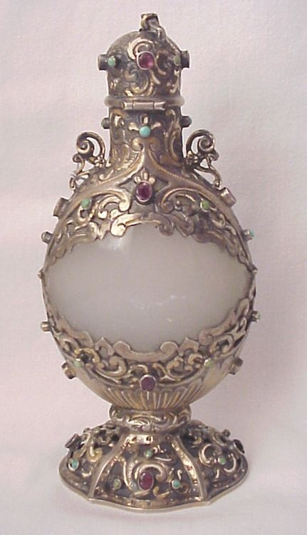 Austro Hungarian Clambroth Glass and Jeweled Silver Perfume Bottle - from richardwbell on Ruby Lane
