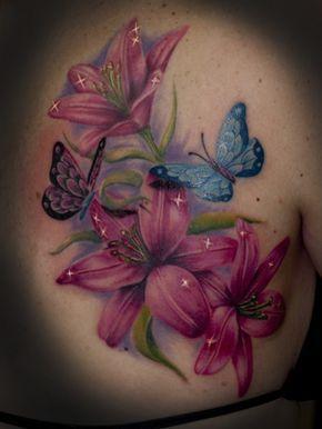 tattoos blumen mit schmetterling – Google-Suche