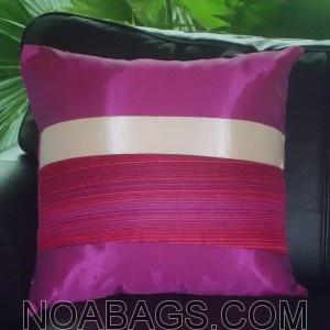 Housse de Coussin en Soie Thaï avec reflets brillants de couleur Prune - 40*40