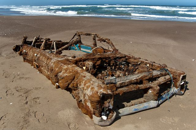 1964 Pontiac Bonneville  Abandoned vehicle on Morro Bay, CA Sand Spit - uncovered by winter storms, reported to have been stalled here in 1973.