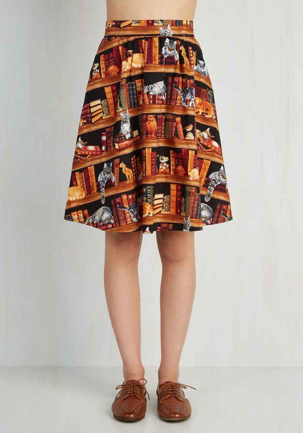 Books + Cats Skirt