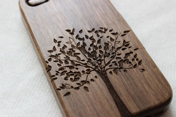 Wood iphone 5 case  Engraved tree wood iphone 5s case by Janecases, $23.85