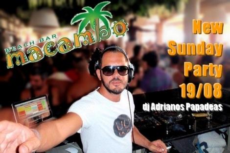 """Νέος μουσικο-χορευτικός γύρος ξεκινά και αυτήν την Κυριακή 19 Αυγούστου 2012 στο Beach Bar Macambo, στην Παραλία Αγίου Νικολάου Αρτέμιδος. Το Macambo Beach Bar και η Ομάδα """"Support Your Local Djs"""" οργανώνουν και πάλι – από τις 4 το απόγευμα έως και τις 12 τα μεσάνυχτα – ένα εκρηκτικό μουσικό οκτάωρο.    Αυτή την Κυριακή 19 Αυγούστου, στα dexx του Macambo ο κορυφαίος Έλληνας dj και παραγωγός Adrianos Papadeas, μαζί με τους ταλαντούχους K.Per & Speerit αναλαμβάνουν να απογειώσουν το κέφι και…"""