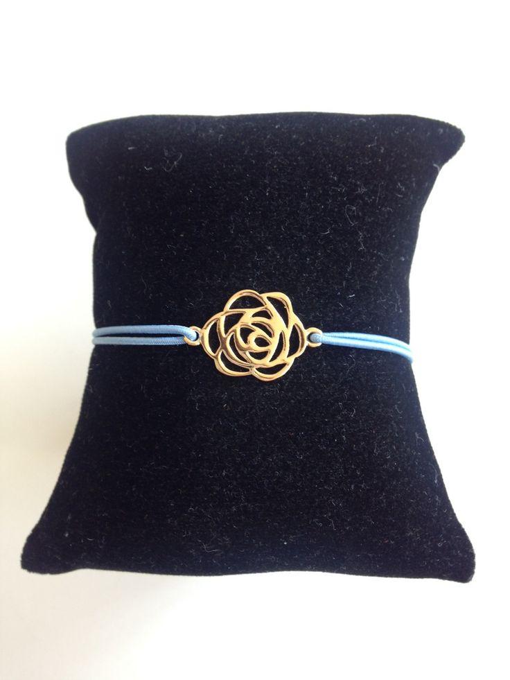 Bracelet rose / Rosace en plaqué Or sur cordon. Type Gas : Bracelet par flor-bijoux
