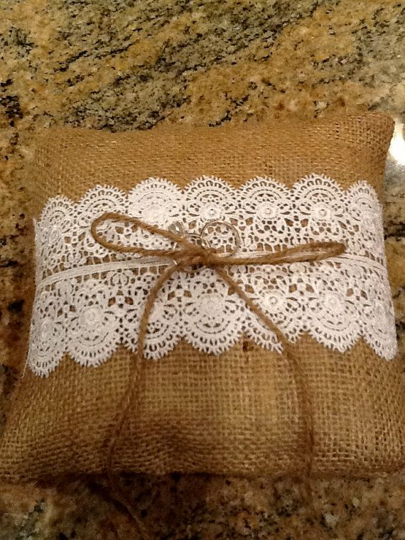 Burlap Ring Bearer Pillow by TwoChikkadees on Etsy, $17.00