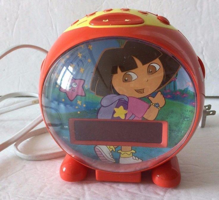 Dora the Explorer Red Sphere Digital AM FM Radio Alarm Clock - TESTED and WORKS #DoraTheExplorer