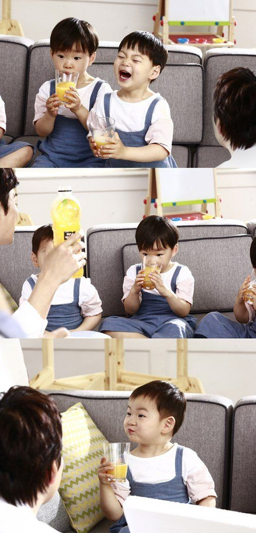 Song Il Gook's Triplets Sip on Juice in Sweet BTS Shots for Minute Maid CF | Koogle TV