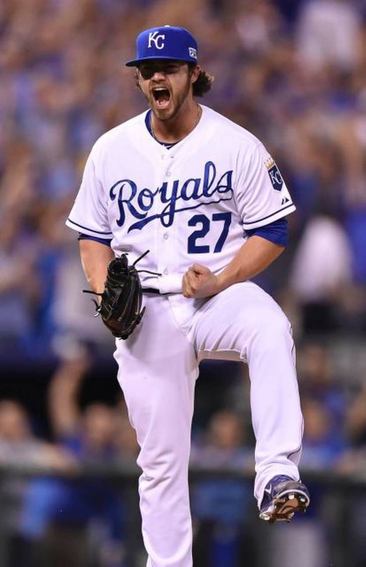 Kansas City Royals pitcher Brandon Finnegan celebrated striking out Oakland Athletics second baseman Nick Punto in the top of the tenth during Tuesday's wildcard playoff baseball game on September 30, 2014 at Kauffman Stadium in Kansas City, MO.