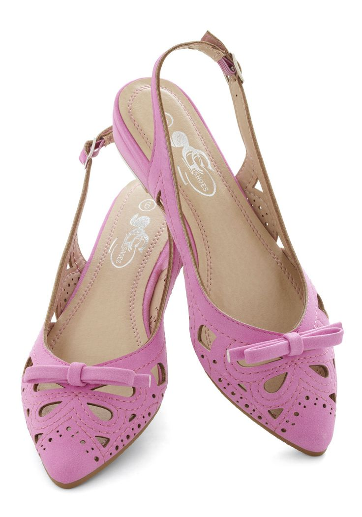 Patio Poise Flat - Pink, Solid, Bows, Cutout, Flat, Slingback, Daytime Party, Vintage Inspired, Faux Leather