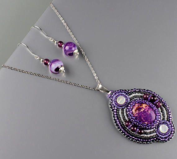 Paarse edelsteen sieraden kraal geborduurd zaad kraal Jasper