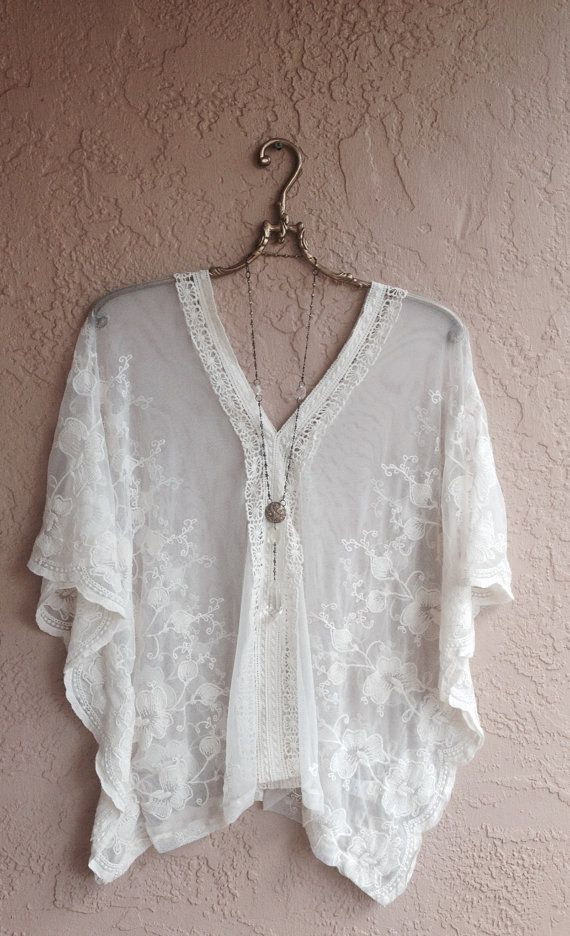 Sheer embroidered floral Bohemian wide sleeve tunic with cape sleeves batwing hippie gypsy girl