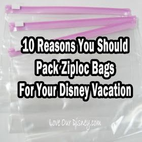 10 Reasons Why You Should Take Ziploc Bags to #Disney - Love Our Disney