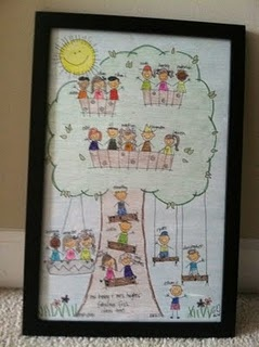 Classroom family tree. Adorable gift for teacher that the students will love too! :) I don't think I could draw such cute faces, but rubber stamps of kids faces would probably work.