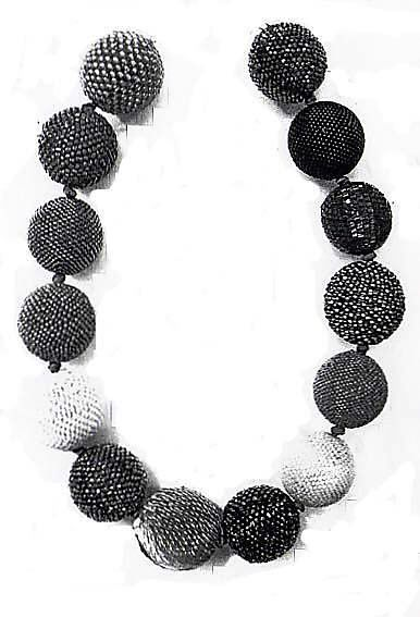 Beaded Bead Necklace  AXEL RUSSMEYER-DE Glass and metal beads, gold and wood-2000