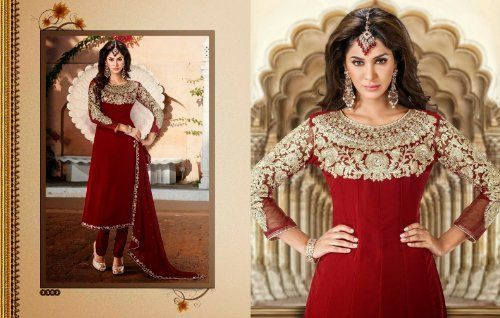 Red Georgette, Crepe & Chiffon with Zari Embroidery, Diamond Hand Work, Lace Border Work Unstitched Anarkali Salwar Kameez Suit, http://www.junglee.com/dp/B00KYQ1GO4/ref=cm_sw_cl_pt_dp_B00KYQ1GO4
