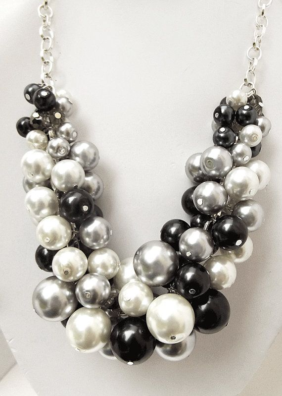 Chunky Beaded Necklace, Pearl Statement Necklace, Black, White & Silver Swarovski Pearls, Oversized Necklace on Etsy, $40.00