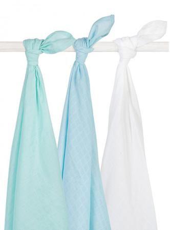 Jollein муслиновые 115х115 см 3 шт. мята-лагуна-белая  — 2100р.  Комплект пеленок 115х115 см 3 шт. Jollein сделан из мягкой дышащей ткани - муслина. Пеленки идеально подойдут для каждодневного использования: во время кормления, переодевания, в качестве пеленок-подгузников, легкого одеяла или накидки.