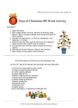 The 12 Days of Christmas in the Computer Lab--Word Processing - Chris Gill Lindsey - TeachersPayTeachers.com