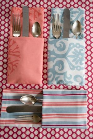 What a clever way to fold silver!  Great look for a casual supper! www.henhouselinens.com