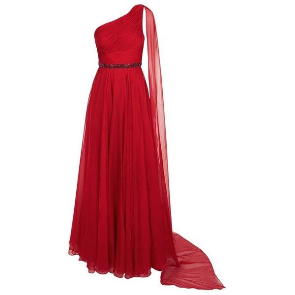Jovani One Shoulder Cape Gown ($1,195) ❤ liked on Polyvore featuring dresses, gowns, red, chiffon gowns, red gown, one shoulder gown, red dress and red evening dresses