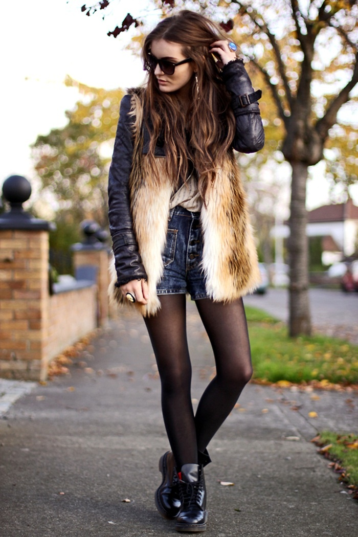 denim shorts with tights, fur vest & leather jacket - love it.