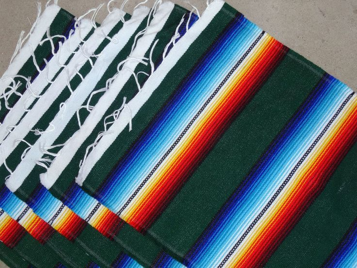 Serape Placemat Onws19-Dkgreen Southwestern Southwest Mexican Style Fringed Set