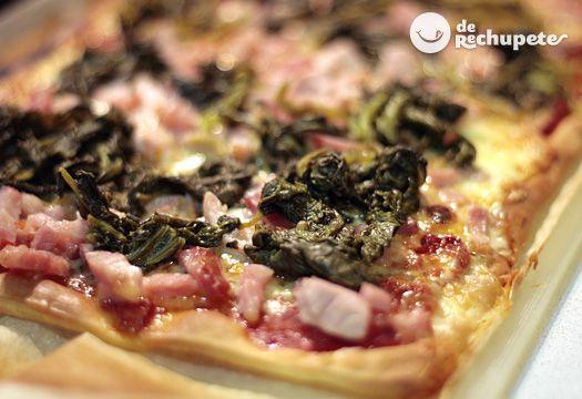 Pizza de Lacón con grelos y queso Arzúa Ulloa