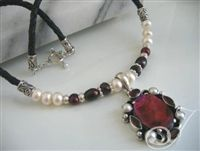 Leather | Julleen Pearl Jewellery Designs E Shop. Red Abalone and Garnet Pendant