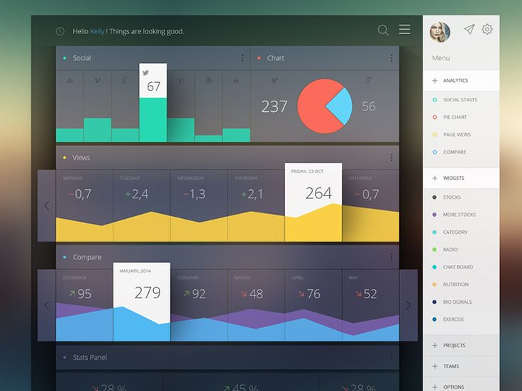 プログラマといえど、管理者が使うものといえど、美しい機能美でまとめられたダッシュボードをつくりたいものです。今回は、参考になりそうな美しいダッシュボードを集めてみました。  クールなダッシュボードデザイン集 Gear Admin UI v2 このくらいシンプルなのが好みです。 Some Analytics Analytics系。数字の比較や計算が多いものに向いてそう。 Dashboard Web App Product UI Design: Job Summary 比較的オーソドックスに使えそう。最近、わりとこういうダッシュボードデザインが多いですね。 To-Do Dashboard グラフの見せ方が個性的。 Server Dashboard サーバーのダッシュボード。 Dashboard Overview Screen カラーを統一するのも綺麗にみえます。 Dashboard Usage Stats v3 トップメニューにすることで、画面を広く使ってます。レスポンシブ化もしやすそう。 VirtualHealth これも青が綺麗。好みです。…